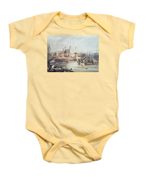 View Of The Tower Of London Baby Onesie by John Gendall