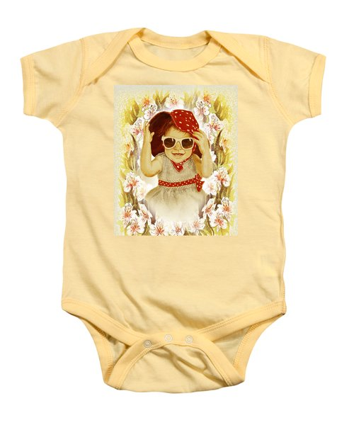 Baby Onesie featuring the painting Vintage Fashion Girl by Irina Sztukowski