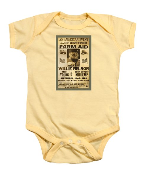 Vintage Willie Nelson 1985 Farm Aid Poster Baby Onesie by John Stephens