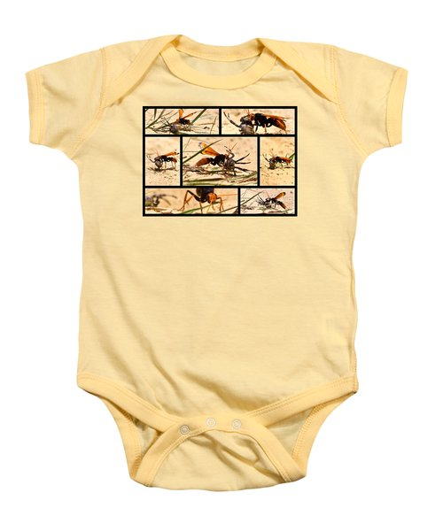 Baby Onesie featuring the photograph Wasp And His Kill by Miroslava Jurcik