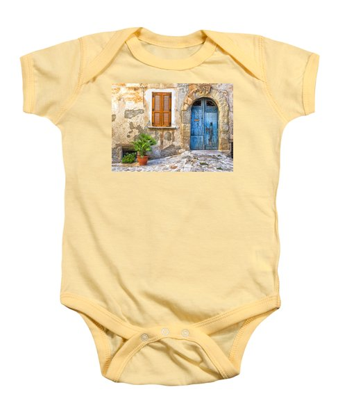 Mediterranean Door Window And Vase Baby Onesie by Silvia Ganora