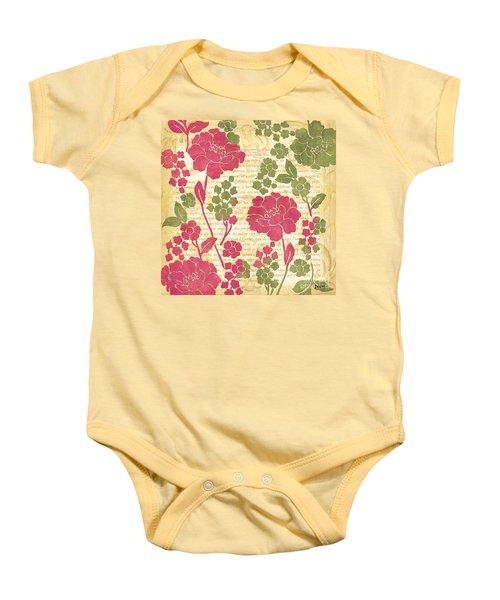 Raspberry Sorbet Floral 1 Baby Onesie by Debbie DeWitt