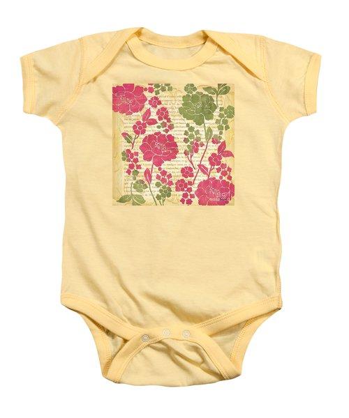Raspberry Sorbet Floral 2 Baby Onesie by Debbie DeWitt