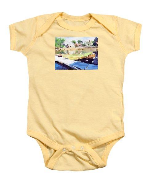 Dories At Beacon Marine Basin Baby Onesie by Melissa Abbott