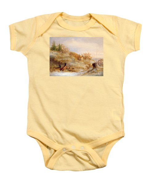 Fox And Pheasants In Winter Baby Onesie by Anonymous
