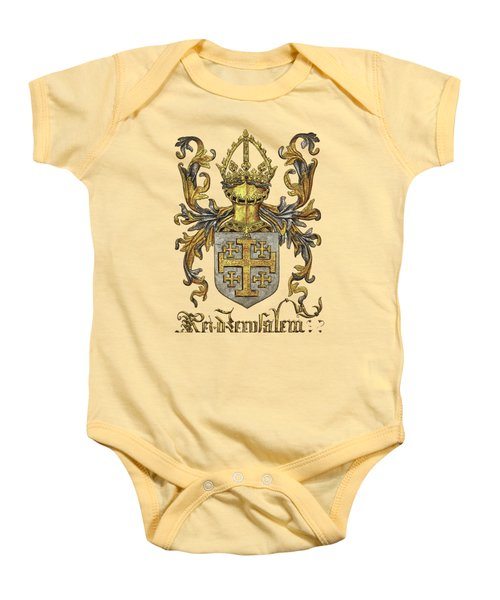 Kingdom Of Jerusalem Coat Of Arms - Livro Do Armeiro-mor Baby Onesie by Serge Averbukh