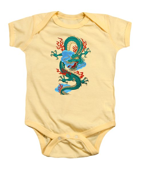 The Great Dragon Spirits - Turquoise Dragon On Rice Paper Baby Onesie by Serge Averbukh