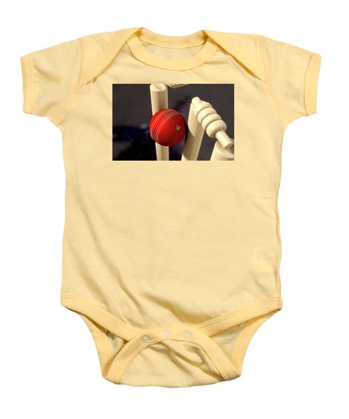 Cricket Ball Hitting Wickets Baby Onesie