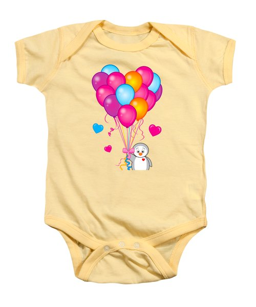 Baby Penguin With Heart Balloons Baby Onesie