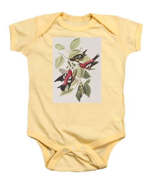 White-winged Crossbill Baby Onesie by John James Audubon