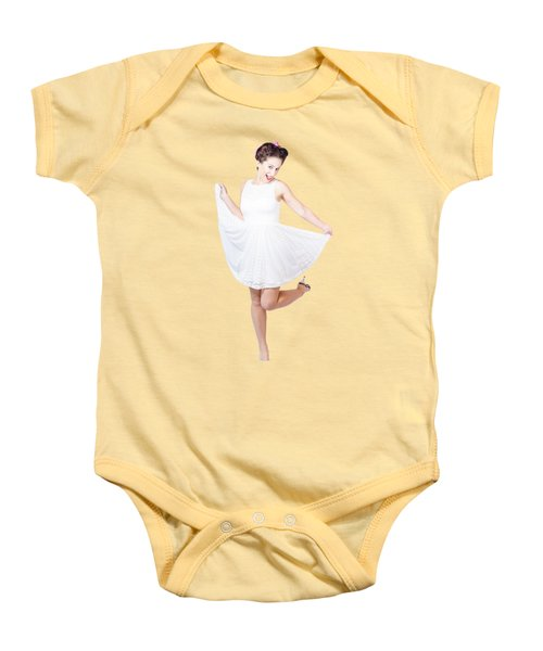 50s Pinup Woman In White Dress Dancing Baby Onesie by Jorgo Photography - Wall Art Gallery