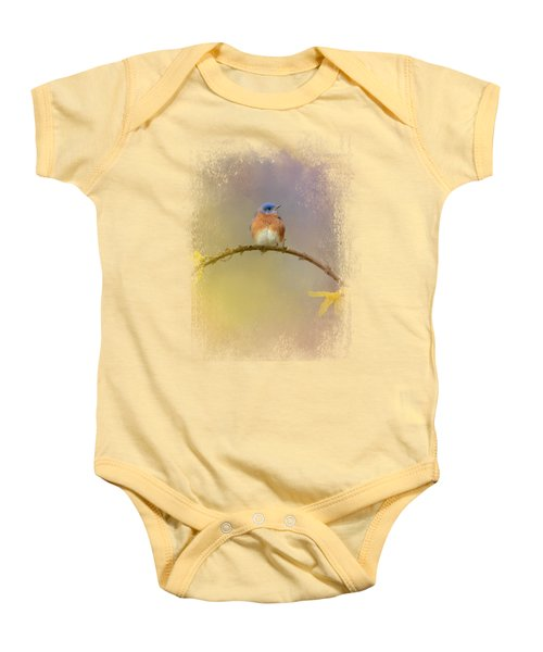 A Little Blue In The Garden Baby Onesie by Jai Johnson