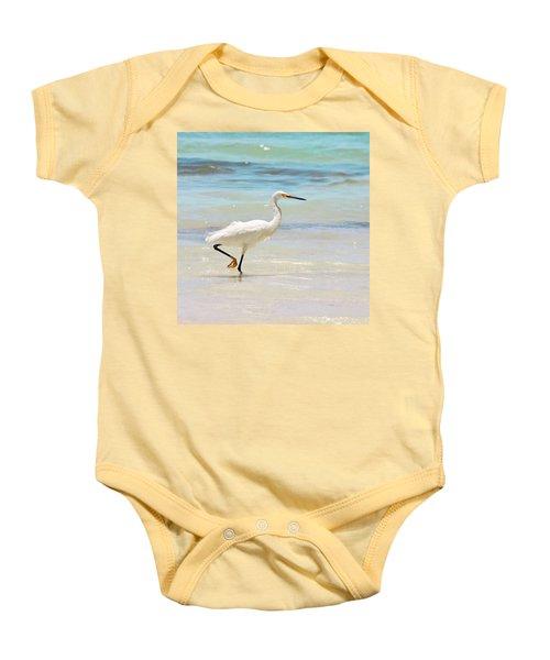 A Snowy Egret (egretta Thula) At Mahoe Baby Onesie
