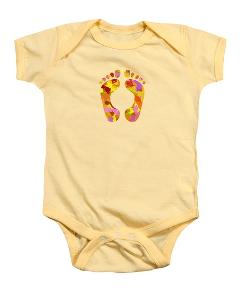 Abstract Footprints On Canvas Baby Onesie by Christina Rollo