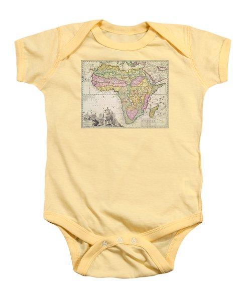 Antique Map Of Africa Baby Onesie by Pieter Schenk