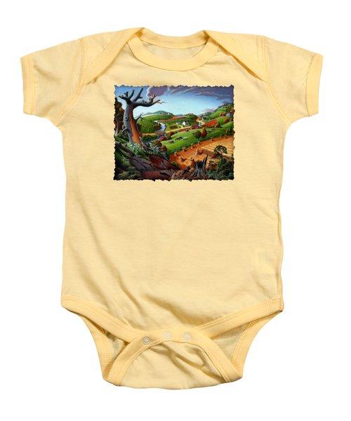 Appalachian Fall Thanksgiving Wheat Field Harvest Farm Landscape Painting - Rural Americana - Autumn Baby Onesie