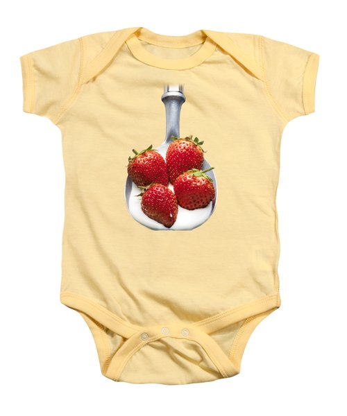 Strawberries N Cream Baby Onesie by Jon Delorme