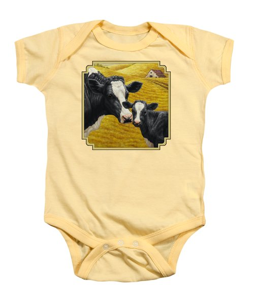 Holstein Cow And Calf Farm Baby Onesie by Crista Forest