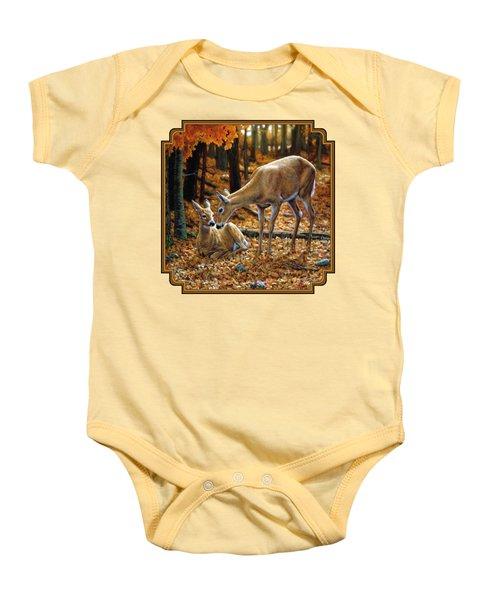 Whitetail Deer - Autumn Innocence 2 Baby Onesie by Crista Forest