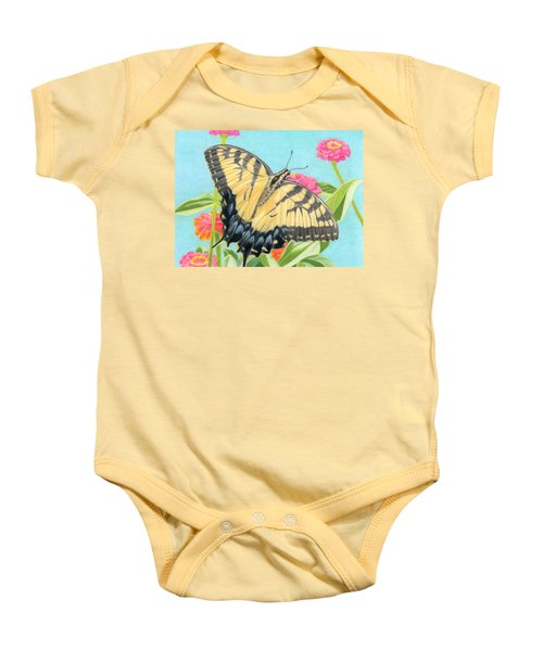 Swallowtail Butterfly And Zinnias Baby Onesie by Sarah Batalka