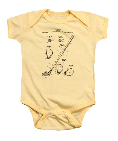 Vintage 1910 Golf Club Patent Artwork Baby Onesie by Nikki Marie Smith