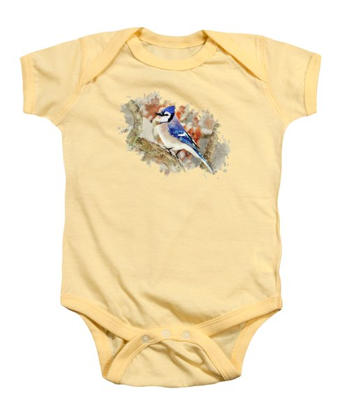 Beautiful Blue Jay - Watercolor Art Baby Onesie by Christina Rollo