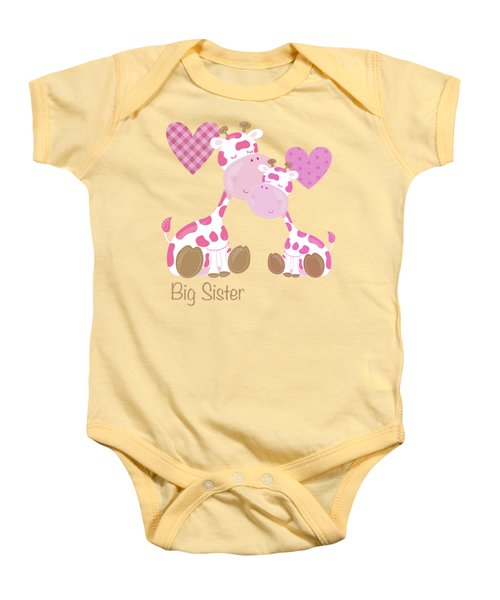 Big Sister Cute Baby Giraffes And Hearts Baby Onesie by Tina Lavoie