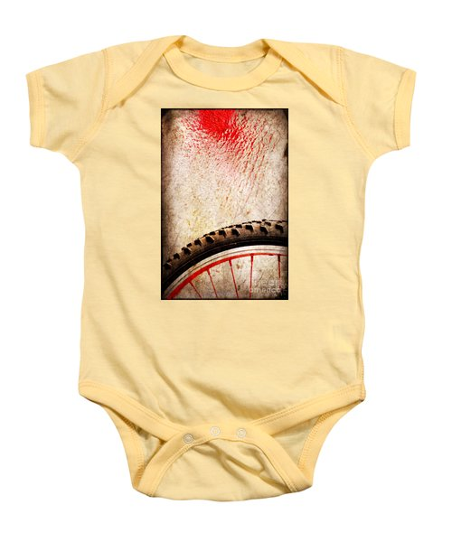 Bike Wheel Red Spray Baby Onesie by Silvia Ganora