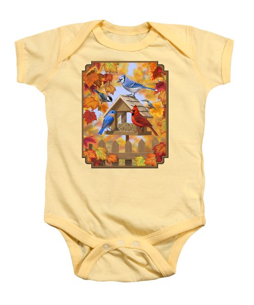 Bird Painting - Autumn Aquaintances Baby Onesie by Crista Forest