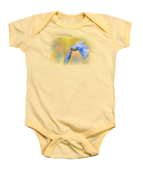 Bluebird Spring Flight Baby Onesie by Jai Johnson