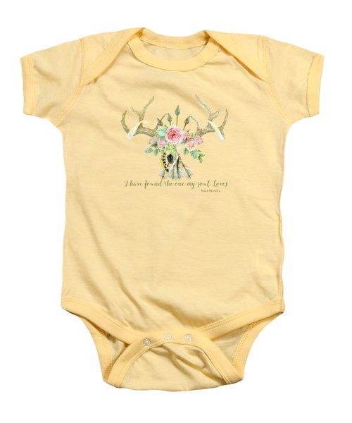 Boho Love - Deer Antlers Floral Inspirational Baby Onesie by Audrey Jeanne Roberts