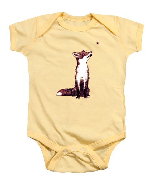 Brown Fox Looks At Thing Baby Onesie by Nicholas Ely