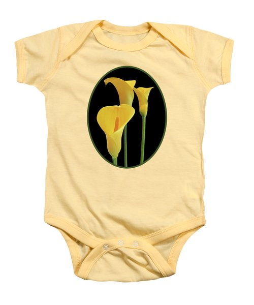Calla Lilies - Yellow On Black Baby Onesie by Gill Billington