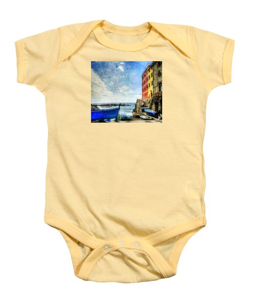 Cinque Terre - Little Port Of Riomaggiore - Vintage Version Baby Onesie