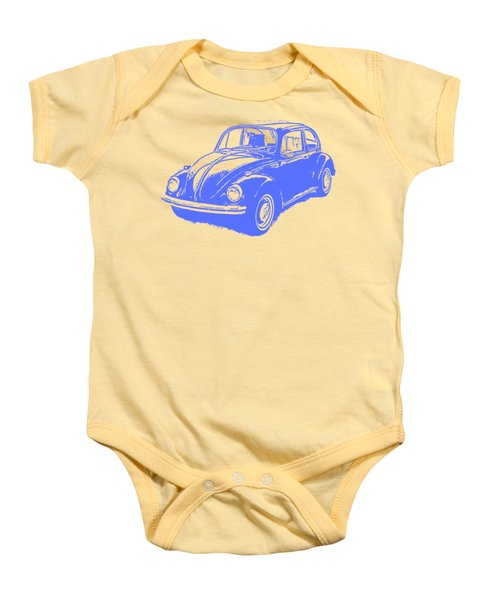 Classic Vw Beetle Tee Blue Ink Baby Onesie by Edward Fielding