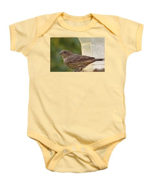 Crossbill Female Portrait      September    Indiana Baby Onesie by Rory Cubel