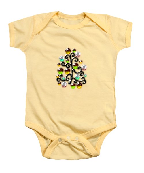 Cupcake Glass Tree Baby Onesie