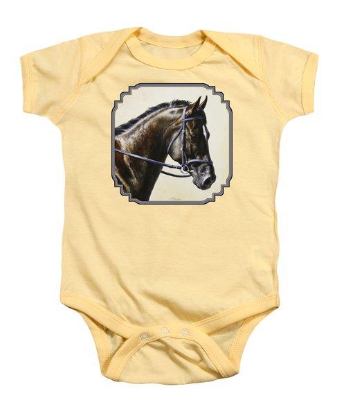 Dark Bay Dressage Horse Phone Case Baby Onesie