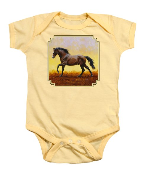 Dark Bay Running Horse Yellow Baby Onesie