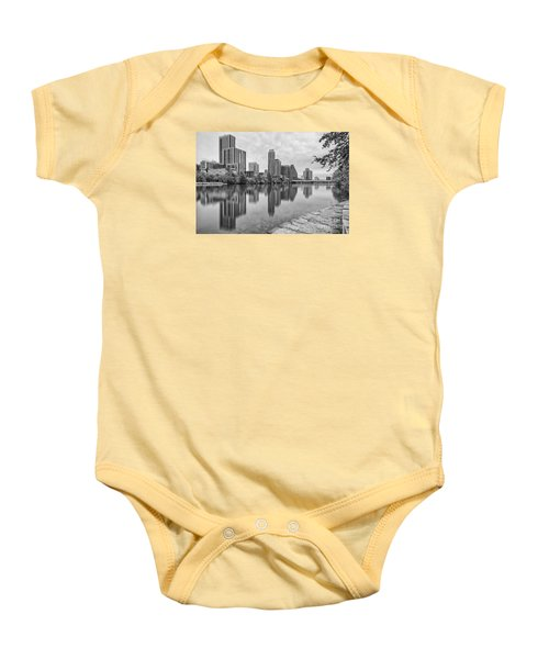 Downtown Austin In Black And White Across Lady Bird Lake - Colorado River Texas Hill Country Baby Onesie by Silvio Ligutti