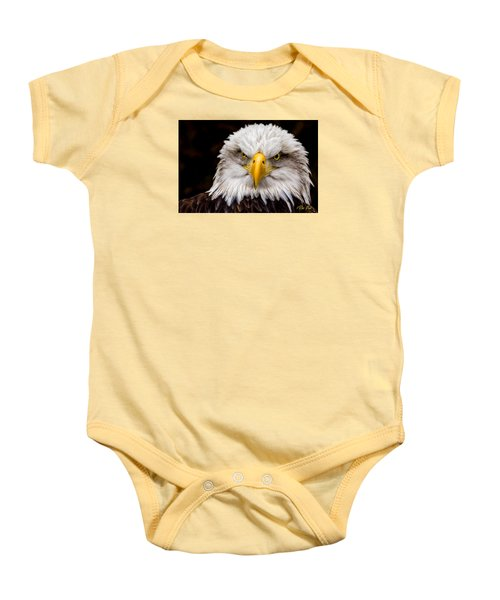 Defiant And Resolute - Bald Eagle Baby Onesie by Rikk Flohr
