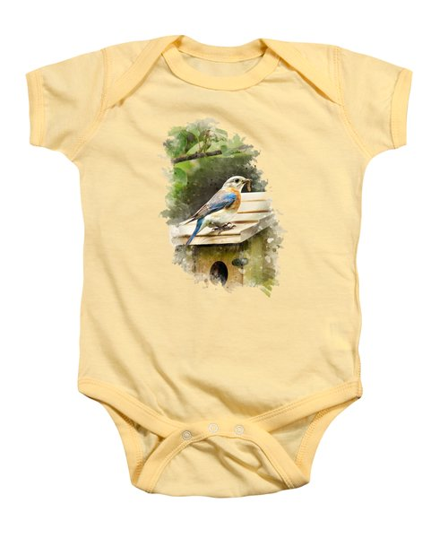 Eastern Bluebird Watercolor Art Baby Onesie by Christina Rollo