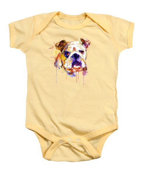 English Bulldog Head Baby Onesie by Marian Voicu
