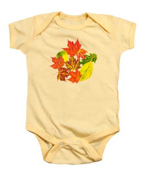 Baby Onesie featuring the mixed media Fall Leaves Pattern by Christina Rollo