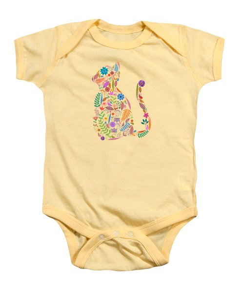 Fancy And Fine Flowered Cat Garden Design Baby Onesie