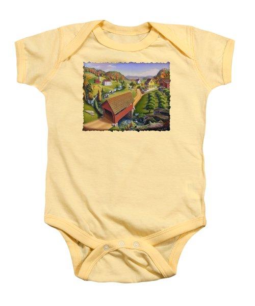 Folk Art Covered Bridge Appalachian Country Farm Summer Landscape - Appalachia - Rural Americana Baby Onesie
