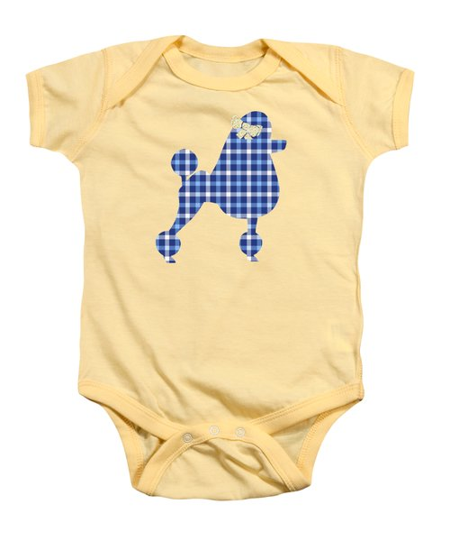 Baby Onesie featuring the mixed media French Poodle Plaid by Christina Rollo