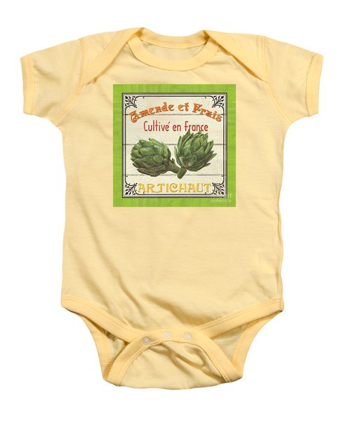 French Vegetable Sign 2 Baby Onesie by Debbie DeWitt