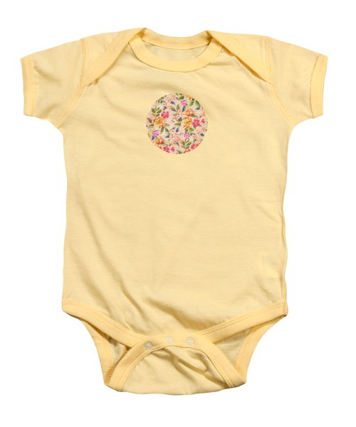 Golden Flitch Digital Vintage Retro  Glitched Pastel Flowers  Floral Design Pattern Baby Onesie by Philipp Rietz