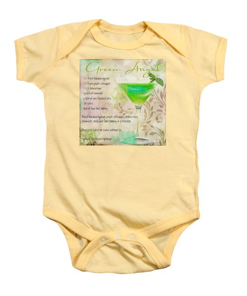 Green Angel Mixed Cocktail Recipe Sign Baby Onesie by Mindy Sommers